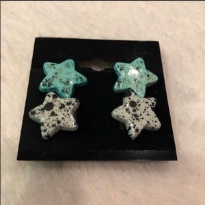 2 Pairs Handmade Speckled Star Stud Post Earrings